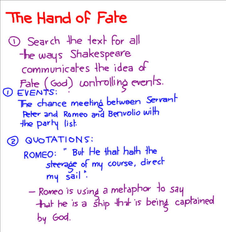 romeo juliet destiny essay Another major topic of romeo and juliet is fate: the belief that an individual's life  has been decided for them and there is nothing they can do to change it this is.